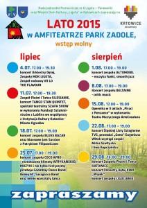 Harmonogram wydarzeń  kulturalnych - Amfiteatr Parku Zadole 2015
